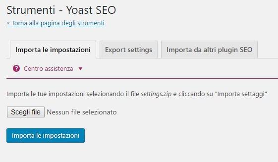 importa e esporta yoast seo plugin