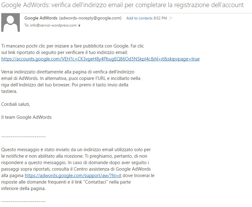 email adword verifica