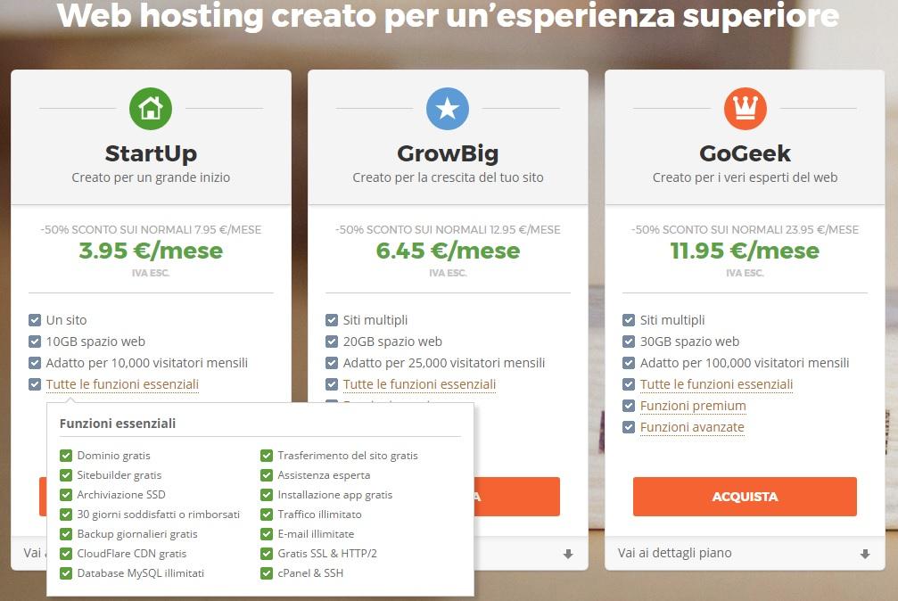 SiteGround funzioni essenziali