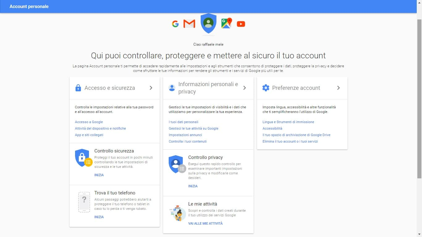 account personale google