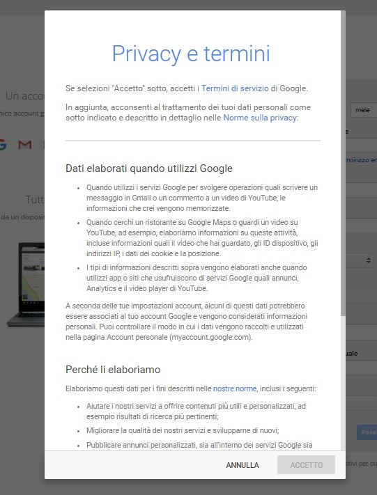 privacy account google