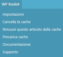 impostazioni wp rocket barra admin