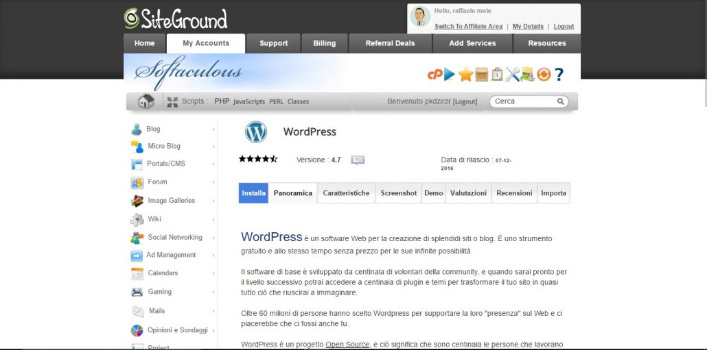 SiteGround installazione WordPress
