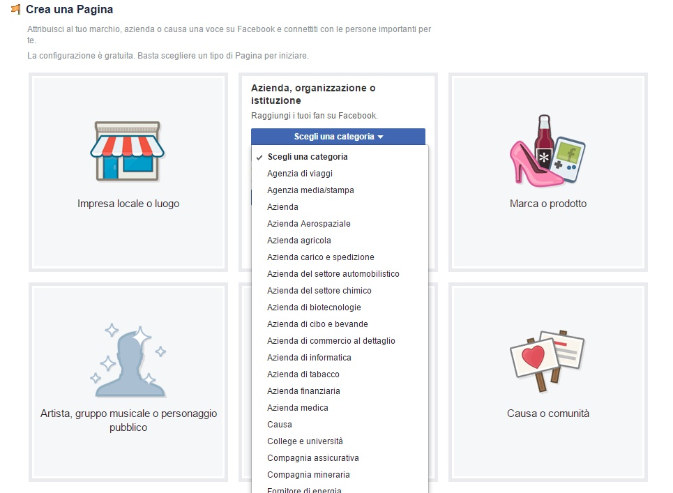 pagina facebook scelta categoria