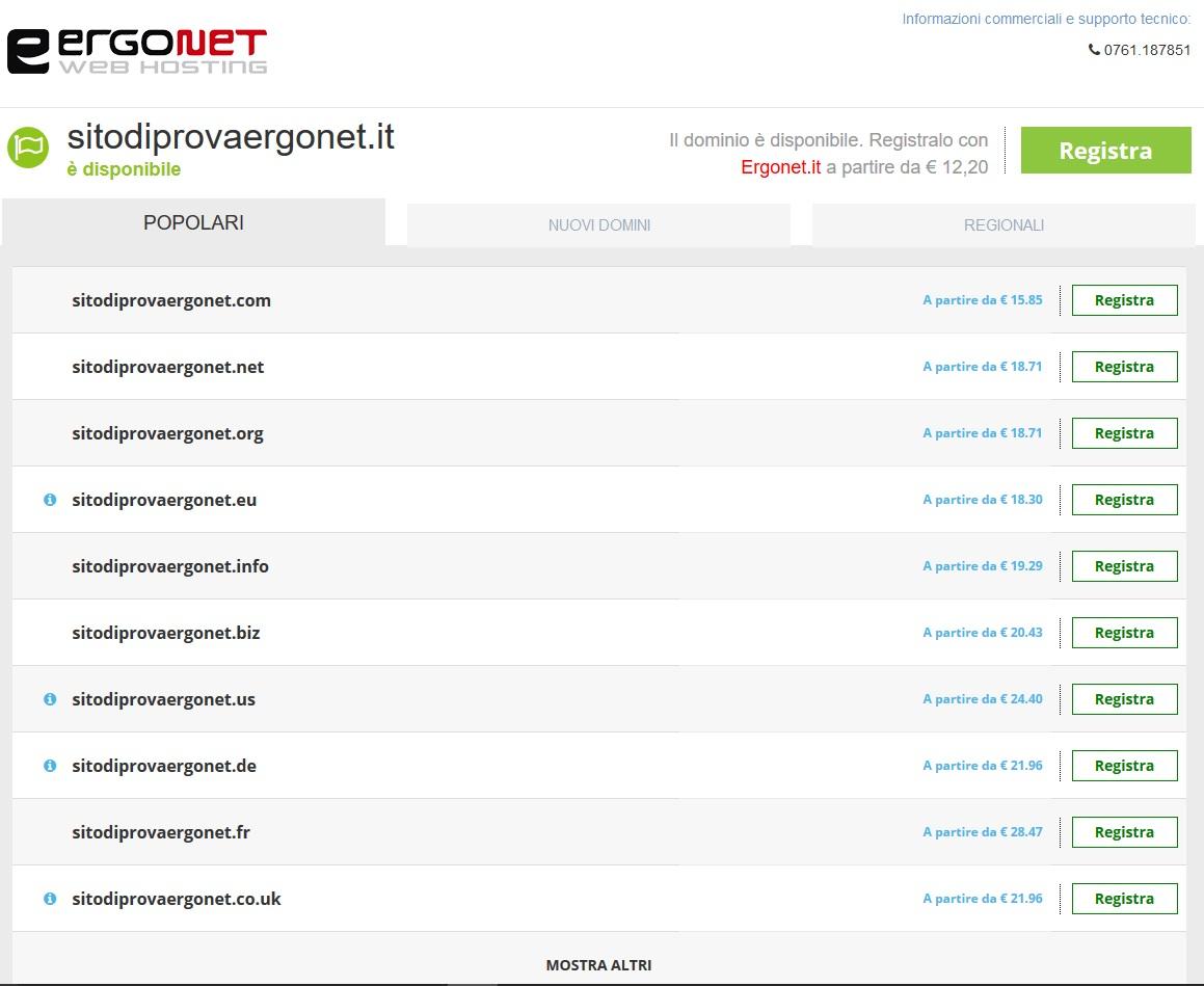 Ergonet registrazione dominio