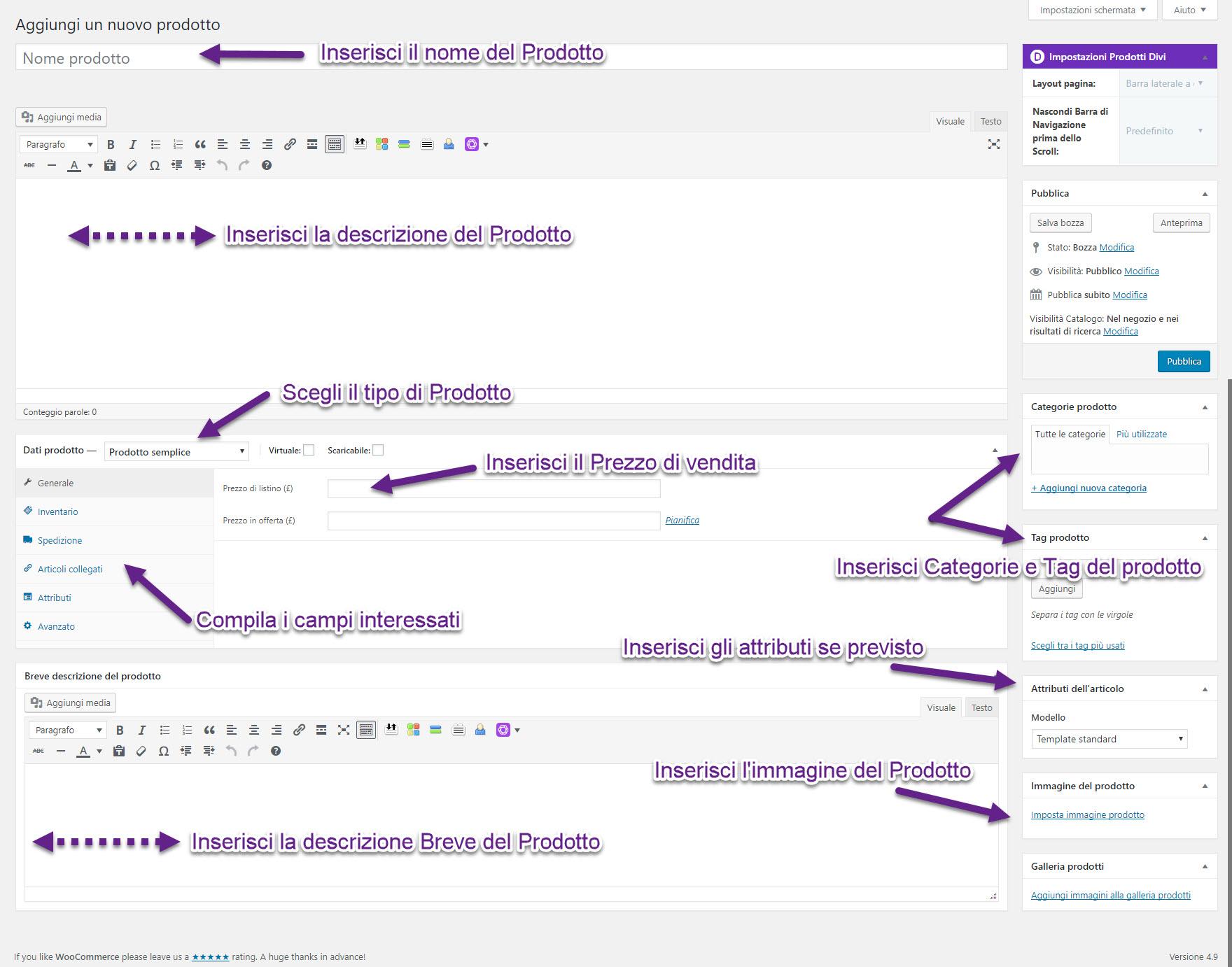 WooCommerce come creare un prodotto