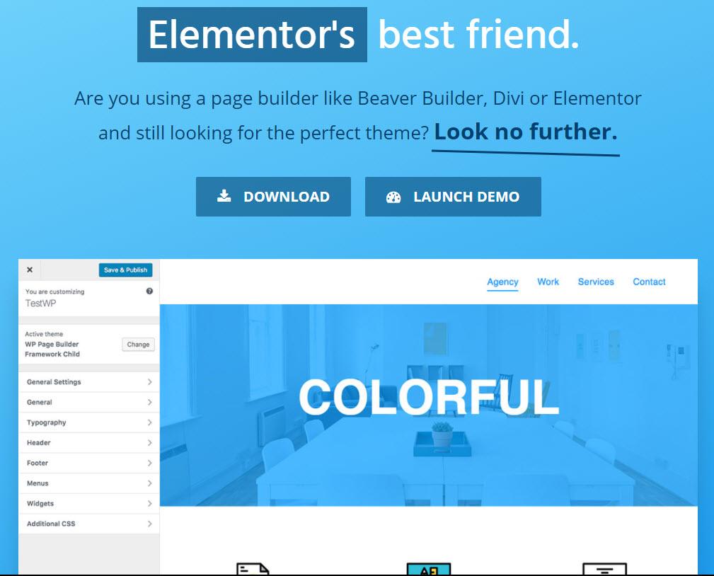 Elementor wp framework