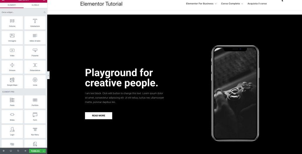 Elementor 2.0 Blocchi