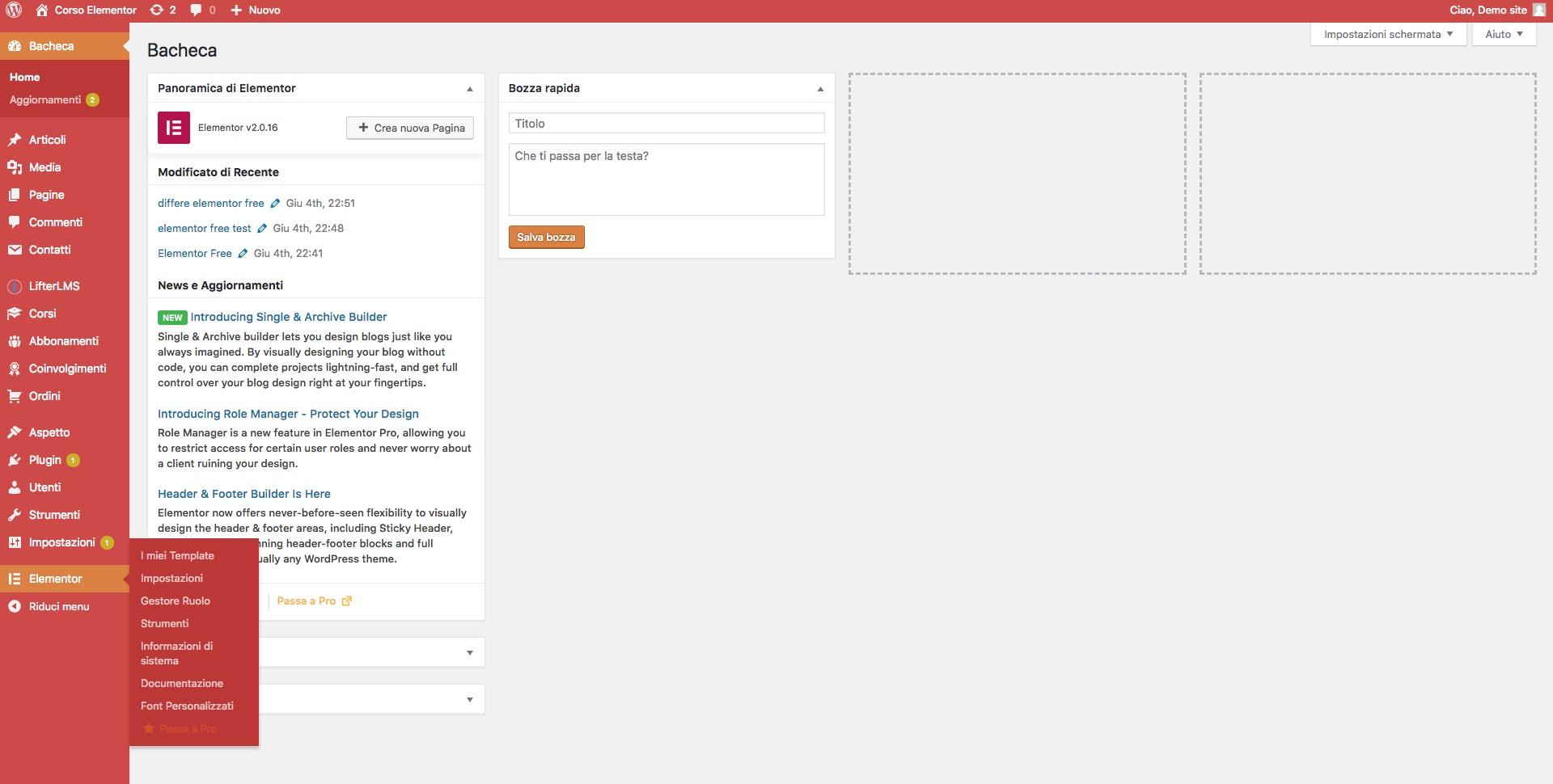 Elementor page builder barra